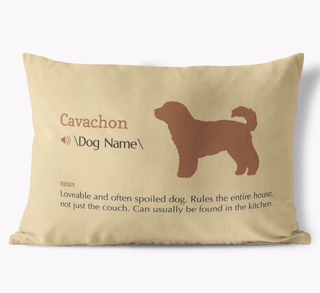 Personalized Cavachon Definition Faux Suede Pillow