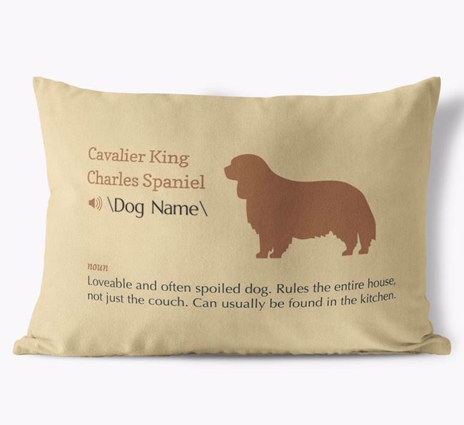 Personalized Cavalier King Charles Spaniel Definition Faux Suede Pillow