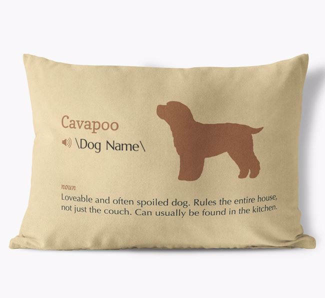 Personalized Cavapoo Definition Faux Suede Pillow