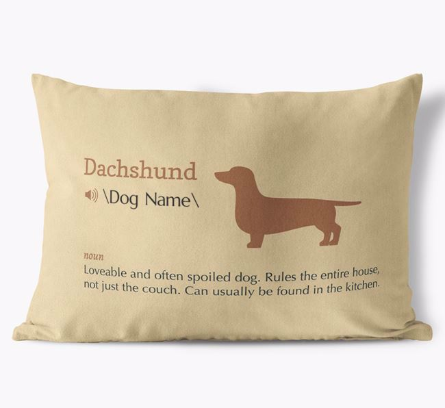 Personalized Dachshund Definition Faux Suede Pillow