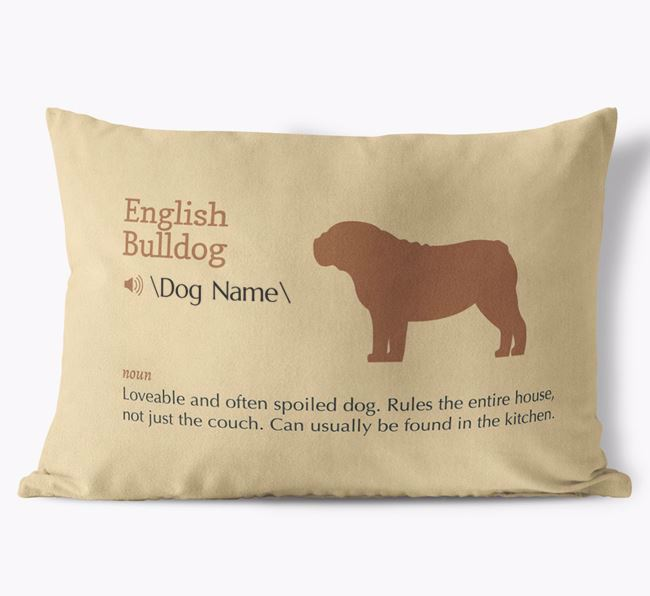Personalized English Bulldog Definition Faux Suede Pillow