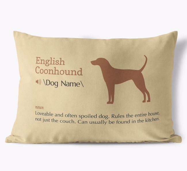 Personalized English Coonhound Definition Faux Suede Pillow