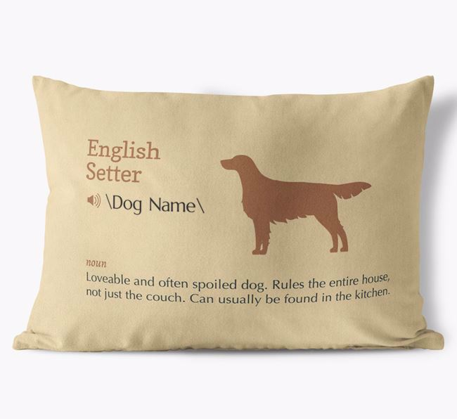 Personalized English Setter Definition Faux Suede Pillow
