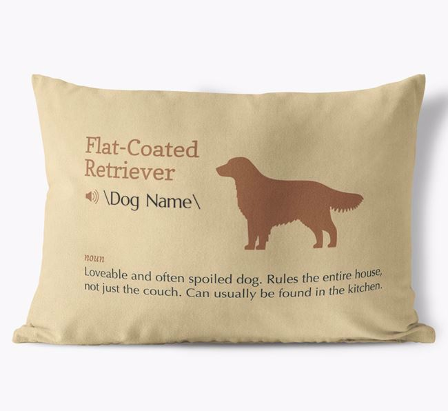 Personalized Flat-Coated Retriever Definition Faux Suede Pillow