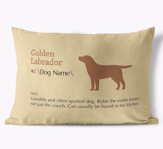 Personalized Golden Labrador Definition Faux Suede Pillow
