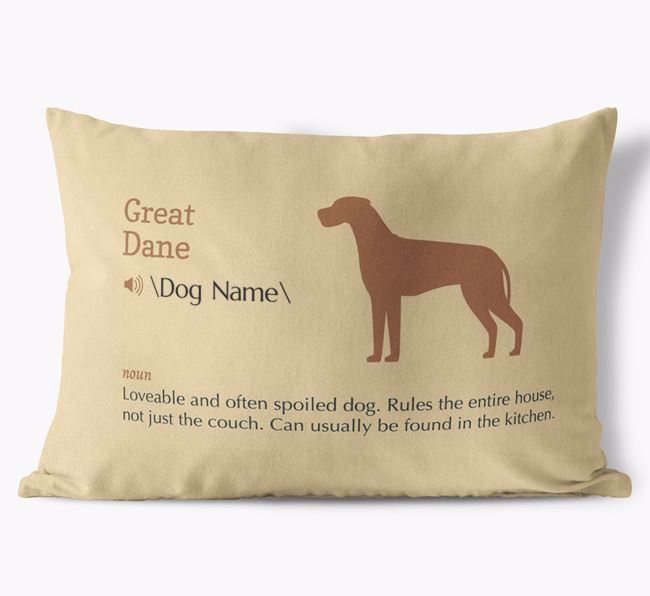 Personalized Great Dane Definition Faux Suede Pillow