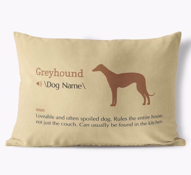 Personalized Greyhound Definition Faux Suede Pillow