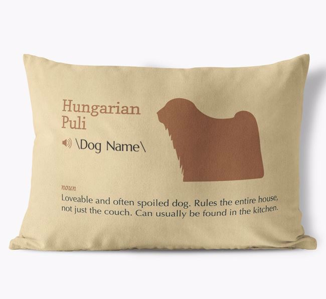 Personalized Hungarian Puli Definition Faux Suede Pillow