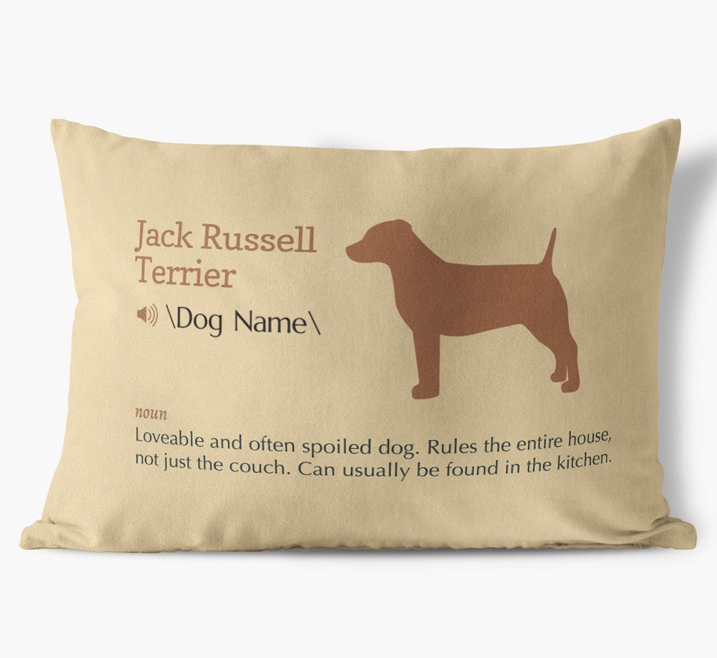 Dog Definition Faux Suede pillow in {colour} front view