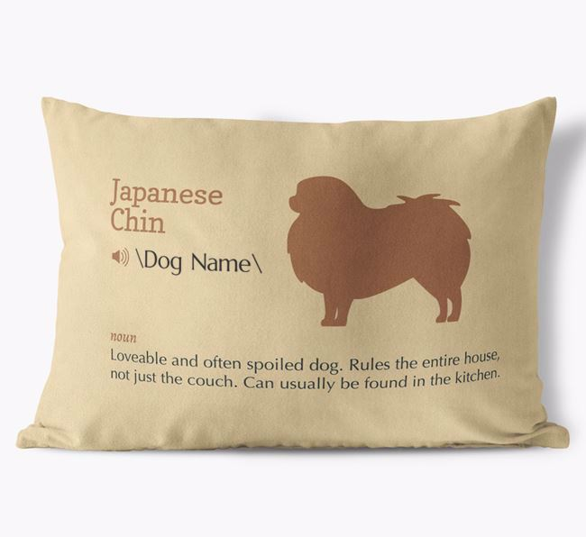 Personalized Japanese Chin Definition Faux Suede Pillow