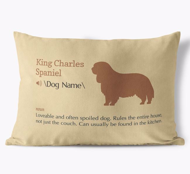 Personalized King Charles Spaniel Definition Faux Suede Pillow