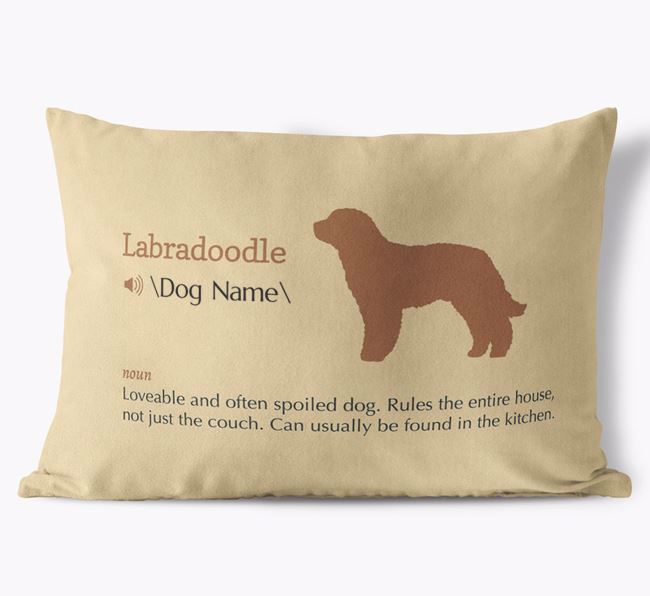 Personalized Labradoodle Definition Faux Suede Pillow