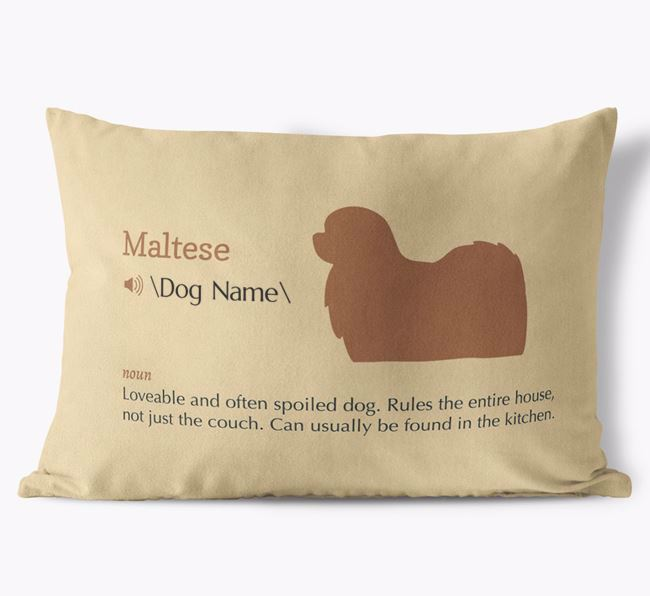 Personalized Maltese Definition Faux Suede Pillow