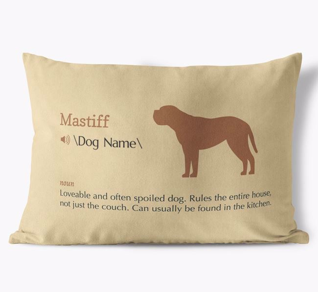 Personalized Mastiff Definition Faux Suede Pillow