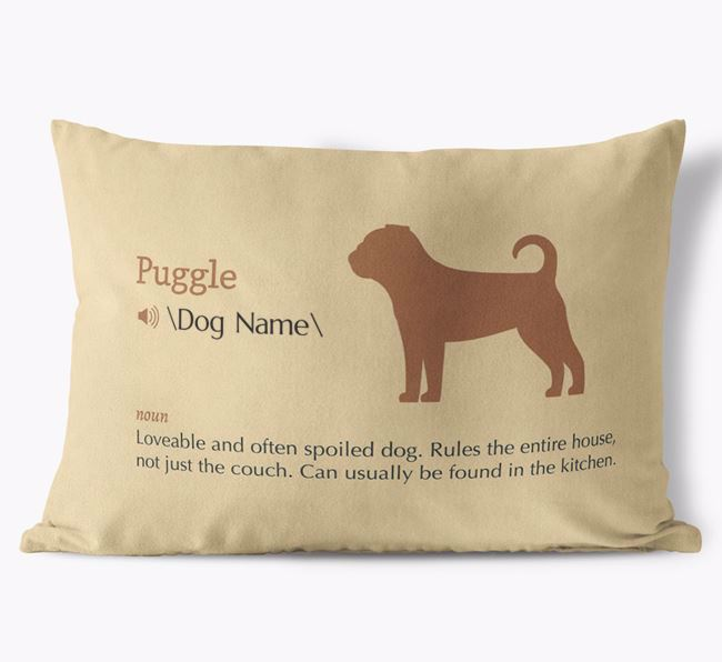 Personalized Puggle Definition Faux Suede Pillow
