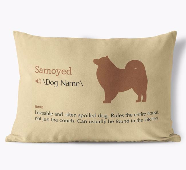 Personalized Samoyed Definition Faux Suede Pillow
