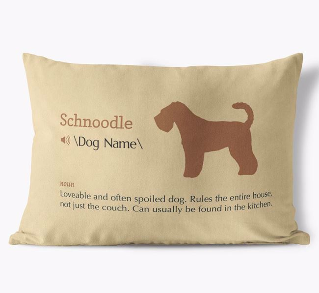 Personalized Schnoodle Definition Faux Suede Pillow
