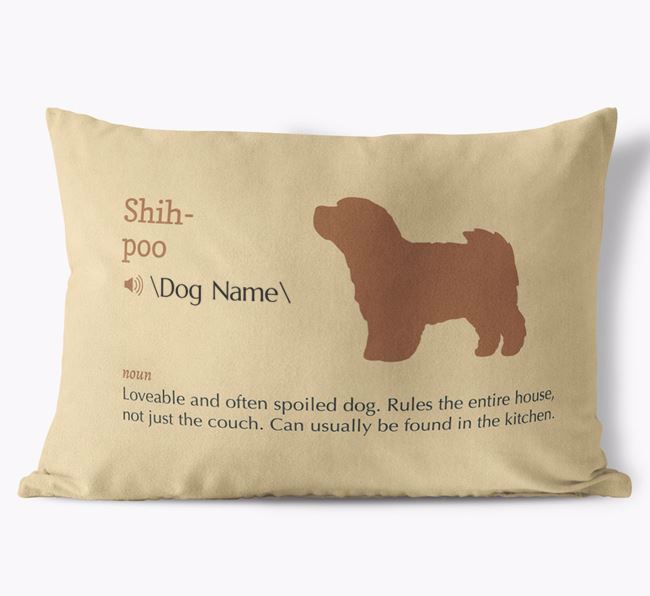 Personalized Shih-poo Definition Faux Suede Pillow