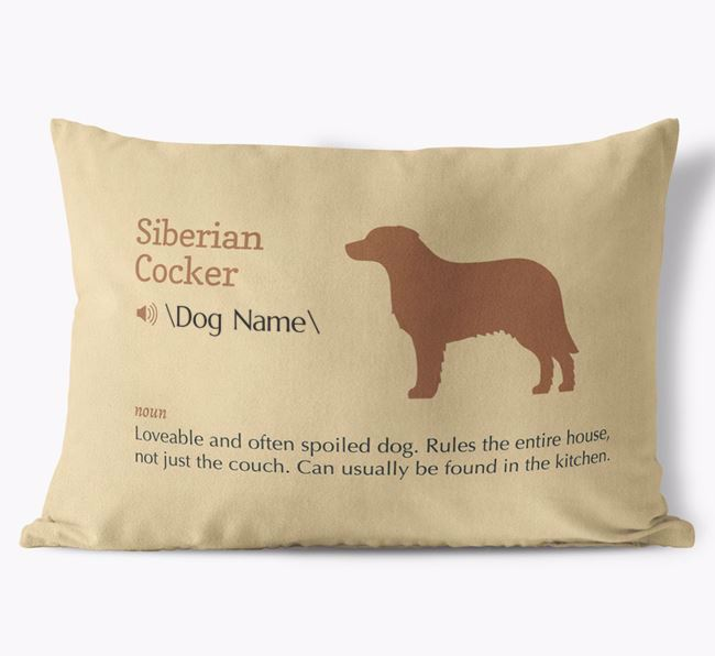 Personalized Siberian Cocker Definition Faux Suede Pillow
