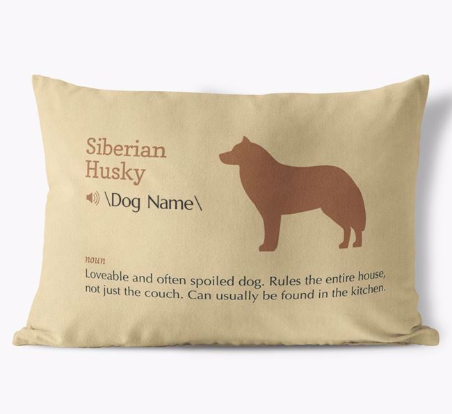 Personalized Siberian Husky Definition Faux Suede Pillow
