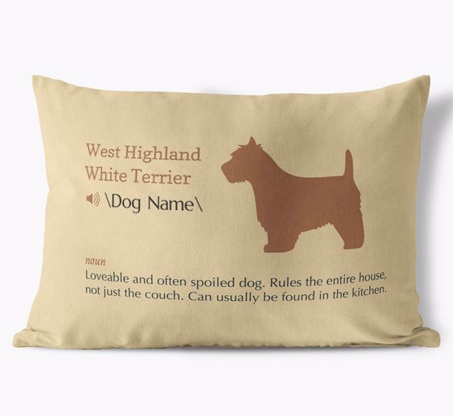 Personalized West Highland White Terrier Definition Faux Suede Pillow