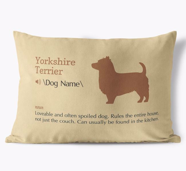 Personalized Yorkshire Terrier Definition Faux Suede Pillow