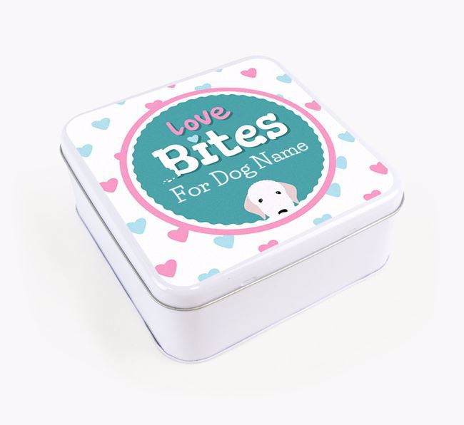 Personalised 'Love bites' Square Tin for your Bedlington Terrier