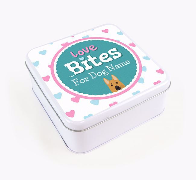 Personalised 'Love bites' Square Tin for your German Shepherd