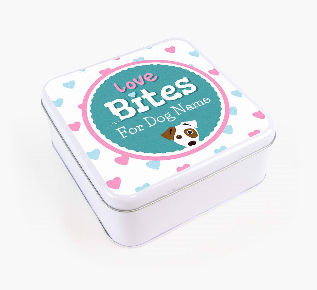 Personalised 'Love bites' Square Tin for your Dog