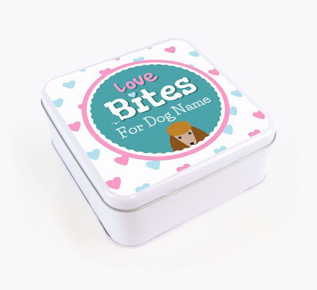 Personalised 'Love bites' Square Tin for your Poodle