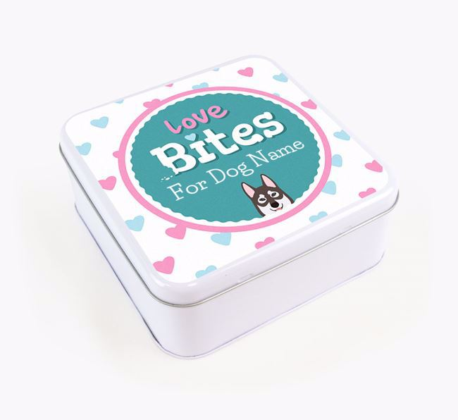 Personalised 'Love bites' Square Tin for your Tamaskan