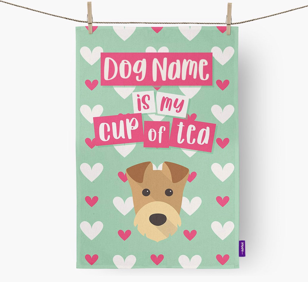 '{dogsName} Is My Cup Of Tea' Tea Towel with Airedale Terrier Icon