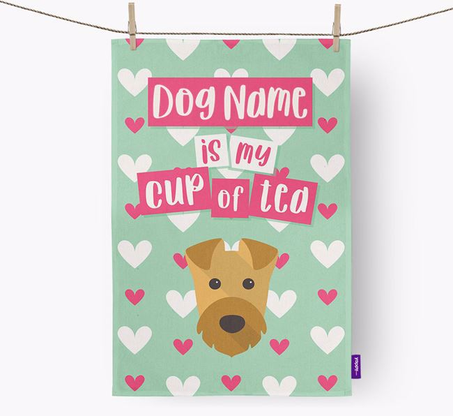 'Your Dog is my cup of tea' Tea Towel with Airedale Terrier Icon