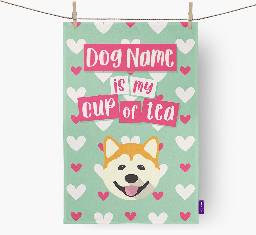 '{dogsName} Is My Cup Of Tea' Tea Towel with Akita Icon