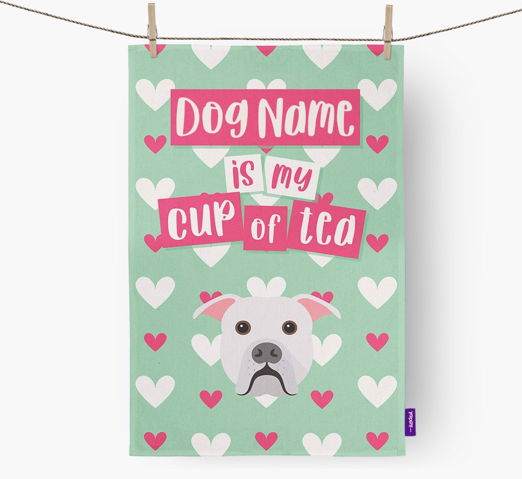 '{dogsName} Is My Cup Of Tea' Tea Towel with American Bulldog Icon