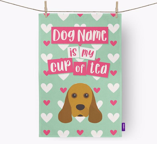 'Your Dog is my cup of tea' Tea Towel with American Cocker Spaniel Icon