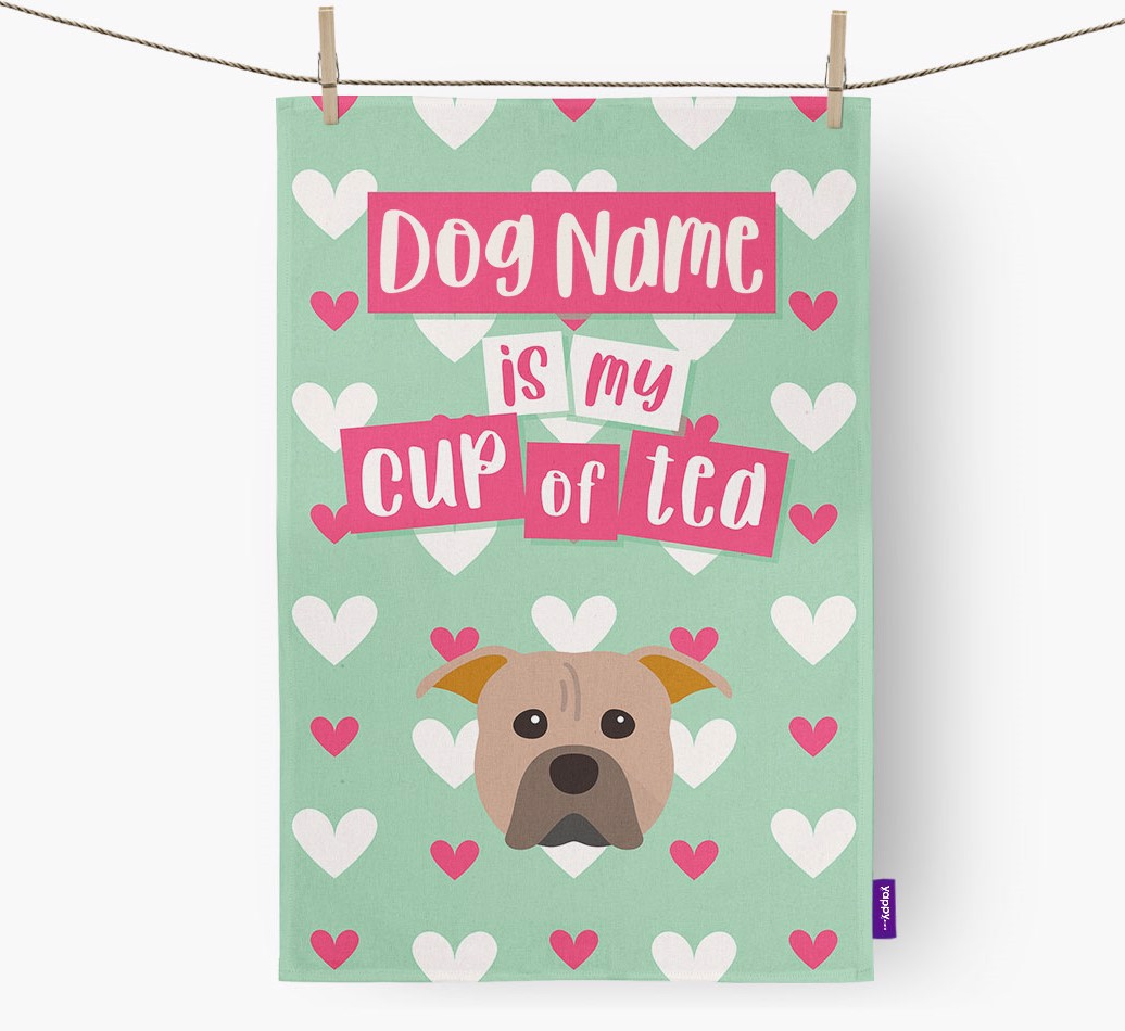 '{dogsName} Is My Cup Of Tea' Tea Towel with American Pit Bull Terrier Icon