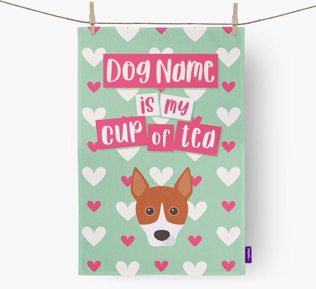 '{dogsName} Is My Cup Of Tea' Tea Towel with Basenji Icon