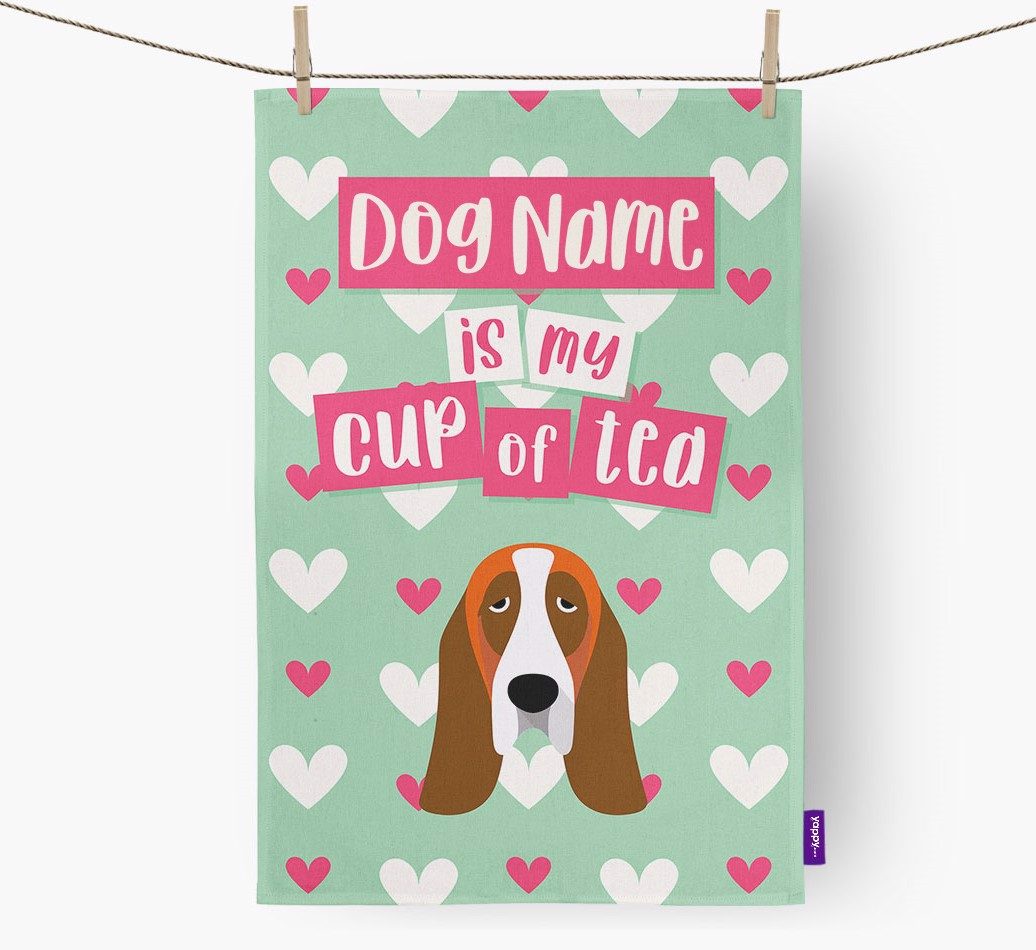 '{dogsName} Is My Cup Of Tea' Tea Towel with Basset Hound Icon
