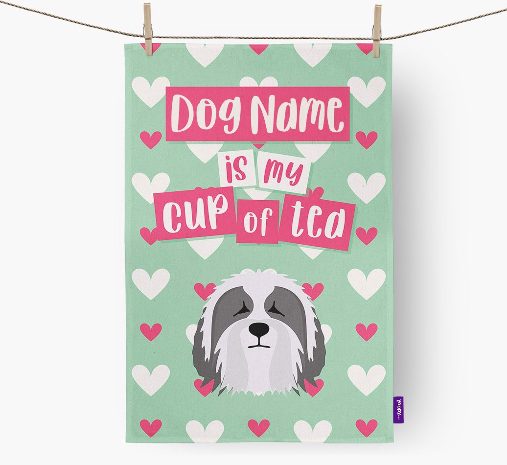 '{dogsName} Is My Cup Of Tea' Tea Towel with Bearded Collie Icon