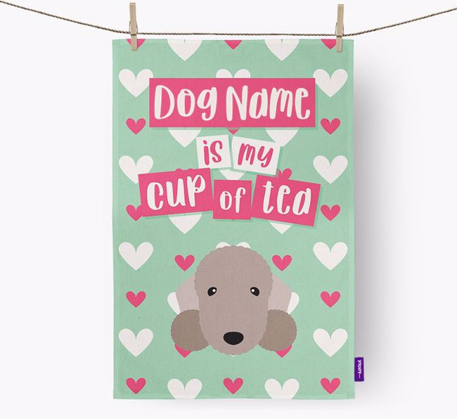 'Your Dog is my cup of tea' Tea Towel with Bedlington Terrier Icon