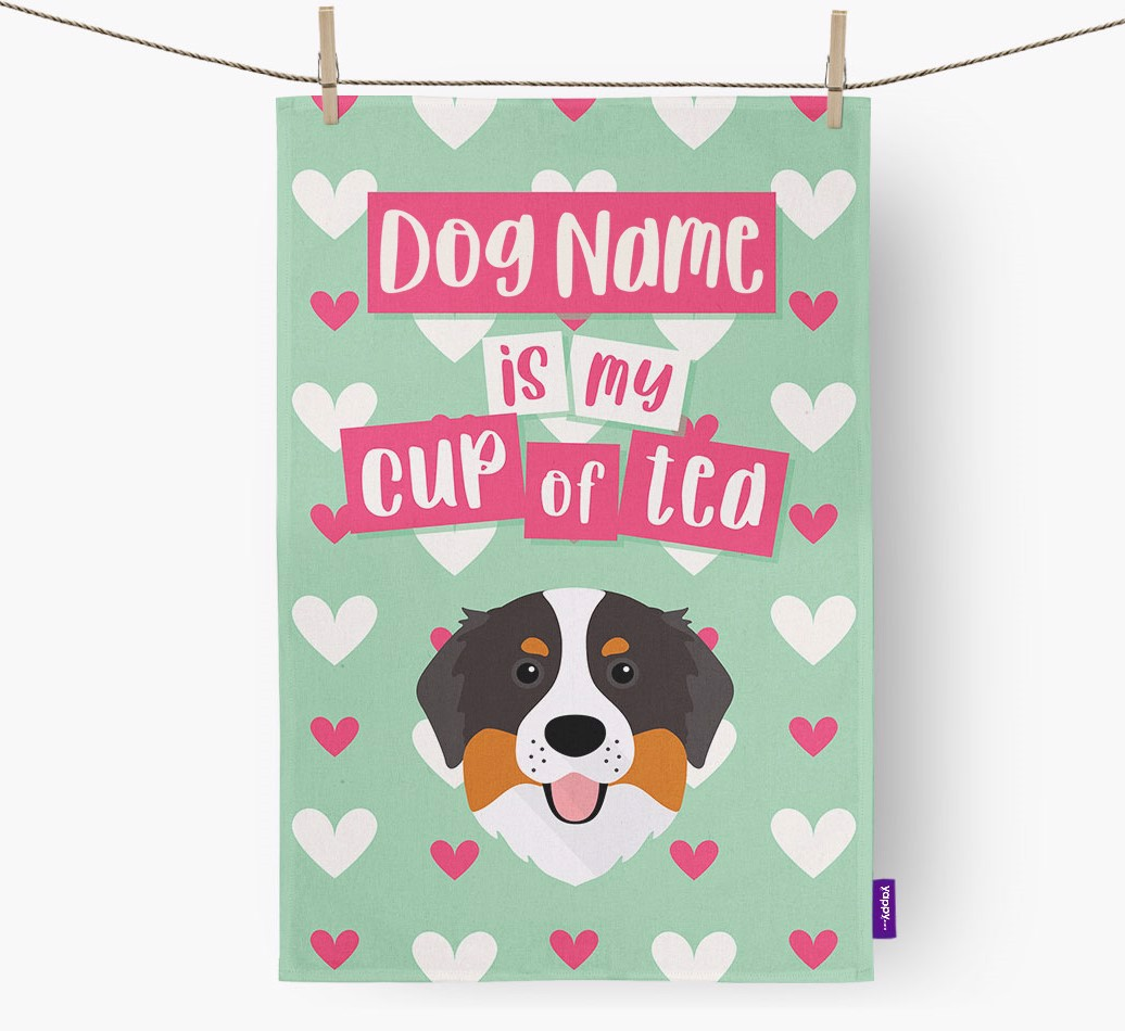 '{dogsName} Is My Cup Of Tea' Tea Towel with Bernese Mountain Dog Icon