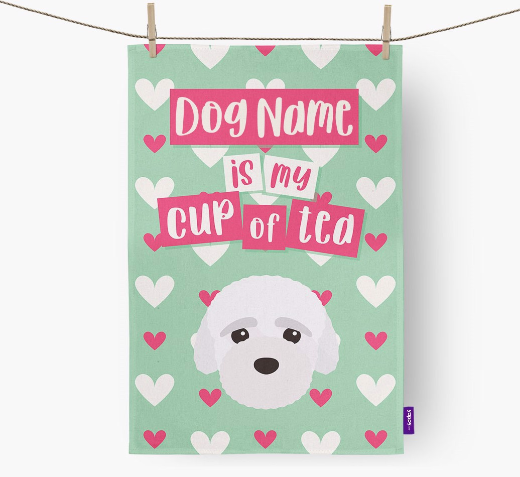 '{dogsName} Is My Cup Of Tea' Tea Towel with Bich-poo Icon