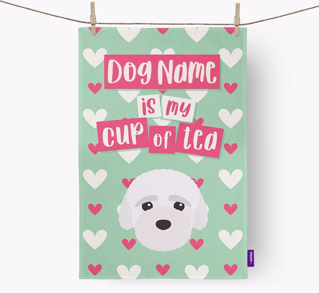 'Your Dog is my cup of tea' Dish Towel with Bich-poo Icon