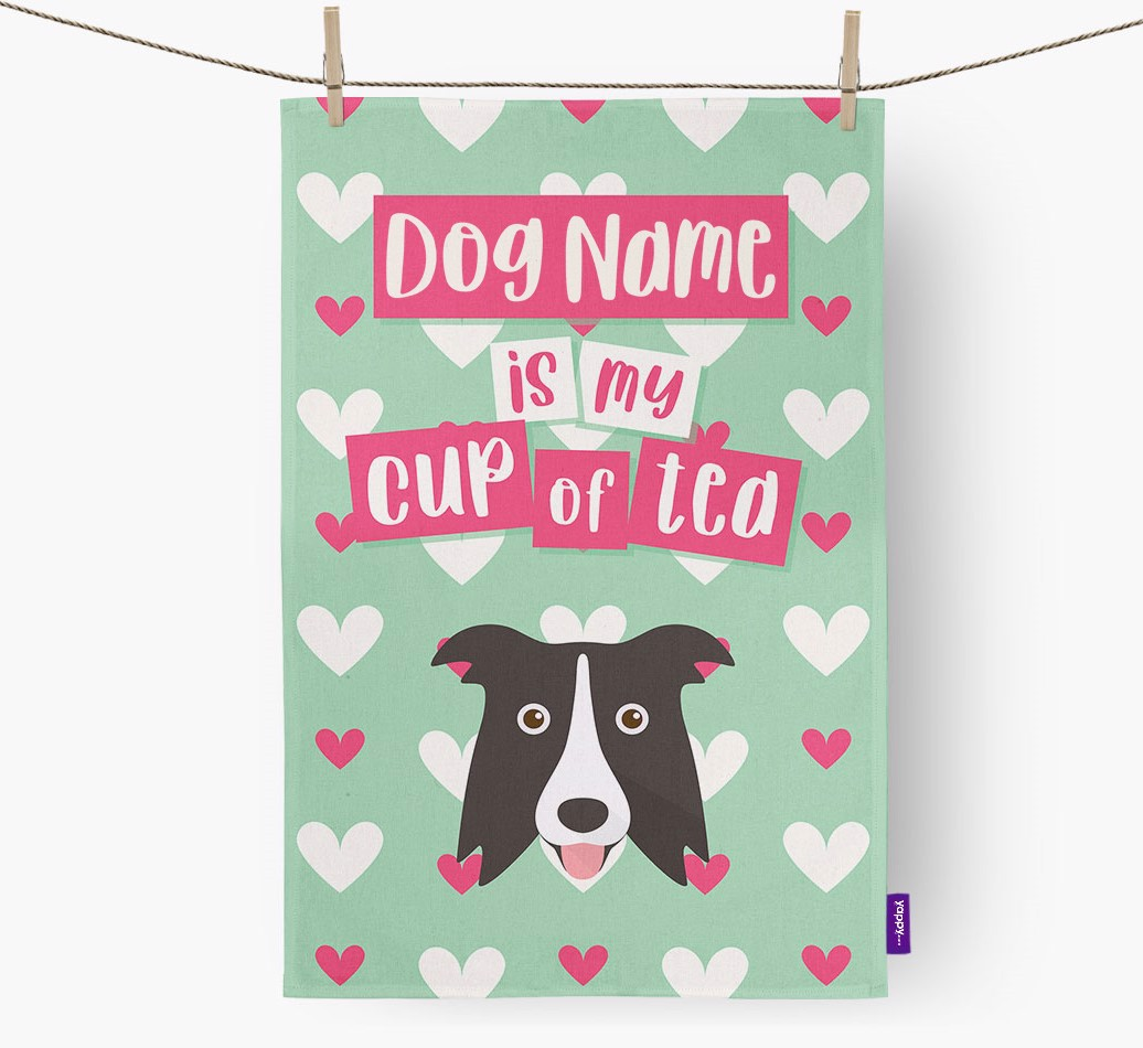 '{dogsName} Is My Cup Of Tea' Tea Towel with Border Collie Icon