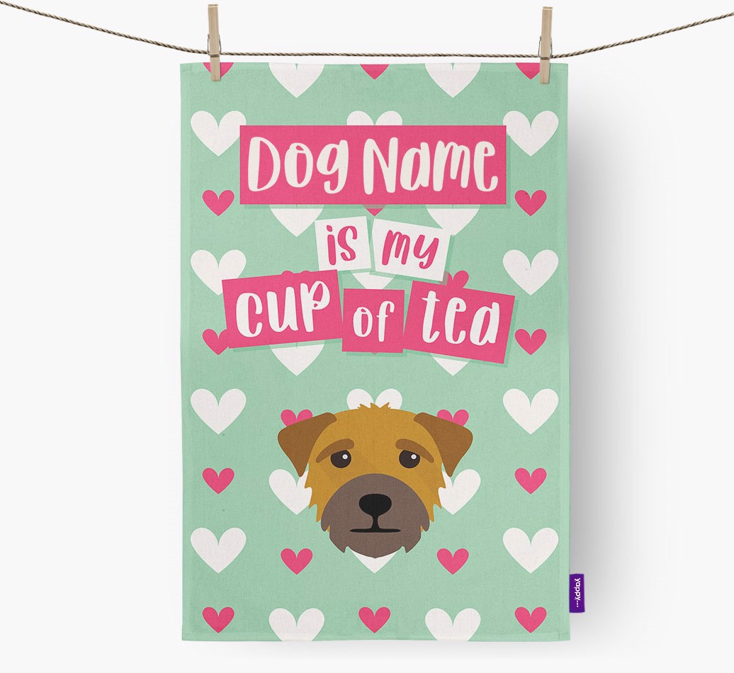 '{dogsName} Is My Cup Of Tea' Tea Towel with Border Terrier Icon