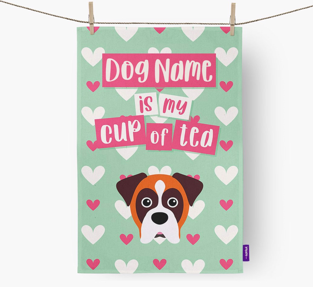 '{dogsName} Is My Cup Of Tea' Tea Towel with Boxer Icon