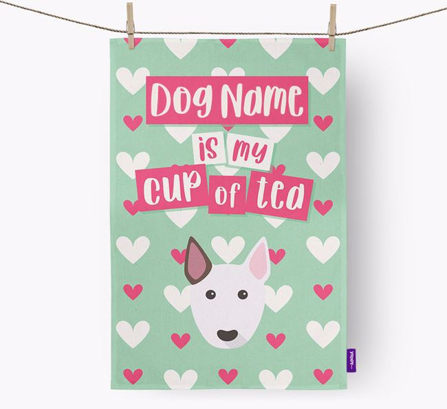 'Your Dog is my cup of tea' Dish Towel with Bull Terrier Icon