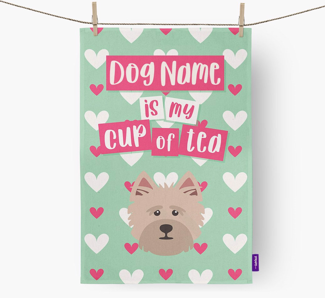 '{dogsName} Is My Cup Of Tea' Tea Towel with Cairn Terrier Icon