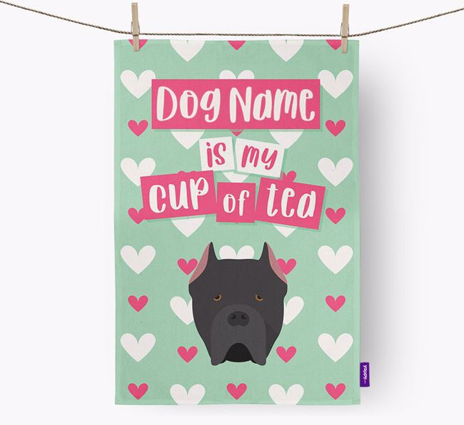 'Your Dog is my cup of tea' Dish Towel with Cane Corso Italiano Icon